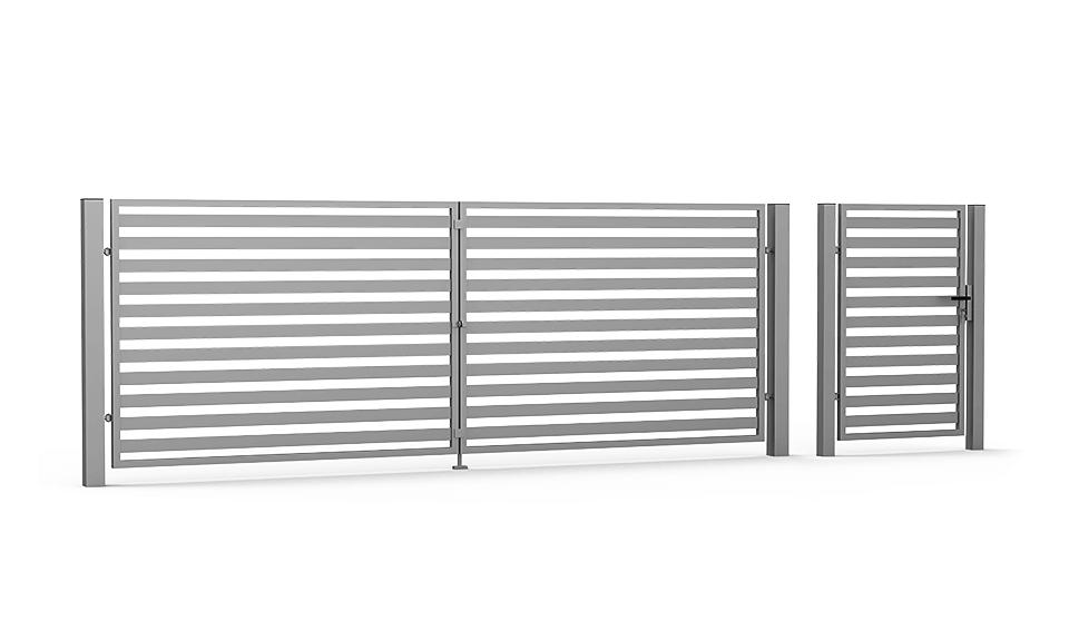 Brama skrzydłowa i furtka Horizontal 70/40